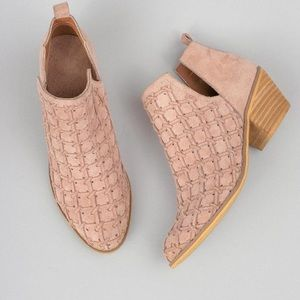 Mi.iM suede booties pink patterned open cut